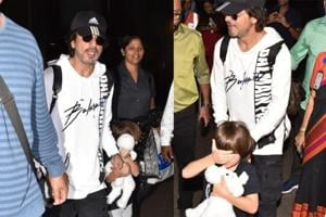 Shah Rukh Khan and son AbRam were spotted at the Mumbai airport on Tuesday.