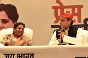 BSP chief Mayawati and Samajwadi Party chief Akhilesh Yadav at joint press briefing in Lucknow