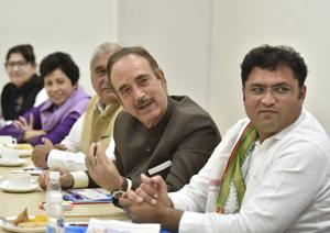 Senior Congress leader Ghulam Nabi Azad (second from the right) and Haryana Pradesh Congress Committee President Ashok Tanwar (R) during the Haryana Coordination Committee meeting at AICC headquarters in New Delhi on March 19, 2019.