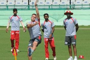 Kings XI Punjab IPL cricket team members during practice session at IS Bindra Cricket Stadium in Mohali.