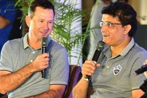 Sourav Ganguly (R) and coach Ricky Ponting address a press conference in New Delhi.