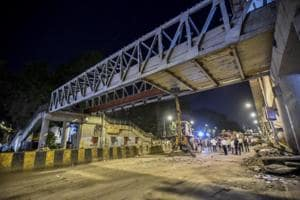 The foot overbridge leading to CSMT Station, Mumbai,  collapsed on Thursday, March 14, 2019.