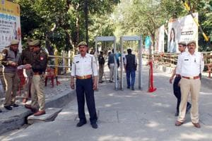 Ghaziabad India - March 18, 2019: The district headquarters was heavily guarded on the day when prospective candidates arrived for taking the nomination forms for the upcoming Lok Sabha elections outside DM Office in Ghaziabad, India on Monday, March 18, 2019.