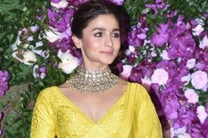 Alia Bhatt at the wedding festivities of Akash Ambani and Shloka Mehta in Mumbai.