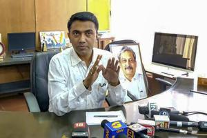 Newly sworn-in Goa chief minister Pramod Sawant takes charge at his office, in Panaji on March 19.