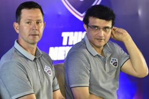 Delhi Capitals head coach Ricky Ponting and senior advisor Sourav Ganguly during a press conference.