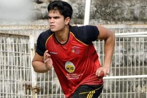 Arjun Tendulkar, son of Sachin Tendulkar, during the net practice.
