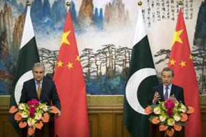 Chinese foreign minister Wang Yi  with his Pakistani counterpart Shah Mahmood Qureshi  during a joint press conference at the Diaoyutai State Guesthouse in Beijing on March 19.