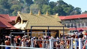 Kerala, India - Feb. 13, 2019: A view of pilgrims at the Sabarimala Sannidhanam or the main temple complex which opened for five-day monthly puja in Pathanamthitta district, Kerala, India on Wednesday, February 13, 2019. (Photo by Vivek R Nair / Hindustan Times)