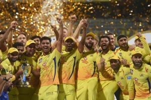 Chennai Super Kings players celebrate with the IPL 2018 trophy after winning the final match against Sunrisers Hyderabad, in Mumbai, Sunday, May 27, 2018. CSK defeated SRH by eight wickets to lift the trophy.