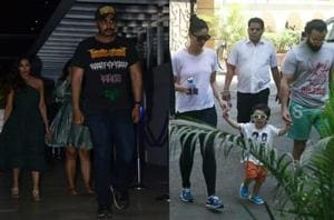 Malaika Arora with Arjun Kapoor and Kareena Kapoor, Saif Ali Khan with son Taimur in Mumbai.