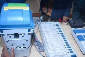 A view of an Electronic Voting Machine (EVM) and Voter verifiable paper audit trail (VVPAT), at DM office, in Ghaziabad, India, on Thursday, March 14, 2019. The members of the federation of association of apartment owners will request contesting candidates to give affidavits which will include time line of the works which the candidate promises in their area.