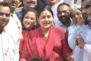 Dolly Sharma, Congress' Ghaziabad candidate, is seen along with her supporters seen at Prahlad Garhi Village, Vasundhara, in Ghaziabad,on Tuesday, March 19, 2019.