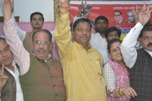 Sewa Ram Kasana (in yellow shirt) is the candidate of Shivpal Yadav's PSP-L party from the Ghaziabad Lok Sabha seat.