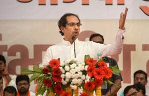 Shiv Sena chief Uddhav Thackeray addresses during Shiv Sena-BJP alliance activists