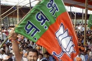 A BJP supporter waves a party flag.
