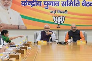 Prime Minister Narendra Modi, BJP National President Amit Shah and other senior leaders during the party's Central Election Committee (CEC) meeting for the upcoming Lok Sabha elections, at BJP headquarters in New Delhi, Wednesday, March 20, 2019.