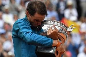 File image of Rafael Nadal with the French Open trophy.