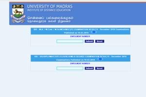 Madras University exam results declared