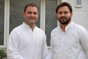 Congress president Rahul Gandhi with RJD leader Tejashwi Prasad Yadav during a meeting in New Delhi.