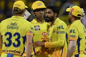 File image of Chennai Super Kings players celebrating after the fall of a wicket.