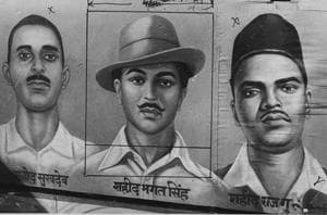That was Bhagat Singh (23 at the time of his death) (centre), who, along with his comrades, Sukhdev (23) (L) and Rajguru (22), were hanged on this day in 1931
