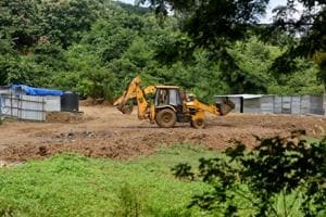 Trenches dug and land levelled using mud for construction of car shed near unit 19 Aarey for Metro III project (Colaba-Bandra-SEEPZ). The BMC has dropped its decision to make Aarey Milk Colony a dumping site.