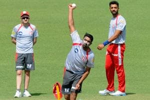 Kings XI Punjab skipper Ravichandran Ashwin during practice session at IS Bindra Cricket Stadium in Mohali.