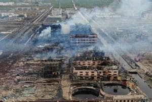 An aerial view shows smoke rising following an explosion at a chemical plant in Yancheng in China