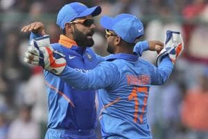 Virat Kohli, left, celebrates the dismissal of Australia