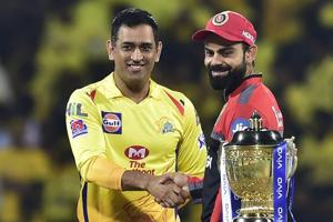 Chennai: Skipper MS Dhoni of Chennai Super Kings and Skipper Virat Kohli of Royal Challengers Bangalore during the first match of 12th edition of the Indian Premier League 2019
