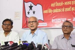 CPI-ML comrades are addressing a press conference at CPI-ML office, Chhajjubagh in Patna.Bihar India on Saturday