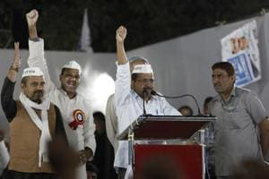 Delhi chief minister Arvind Kejriwal speaks during a public rally, at Malka Ganj, in New Delhi.