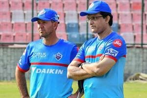Delhi Capitals Head Coach Ricky Ponting and Advisor Sourav Ganguly at the Feroz Shah Kotla Ground.