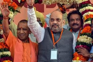 BJP national President Amit Shah with Uttar Pradesh Chief Minister Yogi Adityanath during an election rally  in Agra, Sunday, March 24, 2019.
