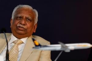 Naresh Goyal, chairman of Jet Airways speaks during a news conference in Mumbai.