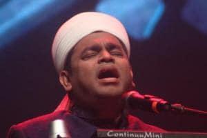 Composer AR Rahman performs during a musical evening.