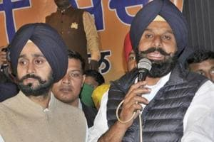 Bikram Singh Majithia (with mike), along with other Shiromani Akali Dal leaders,  welcomed some former village heads into the party fold on Sunday, March 24, 2019.
