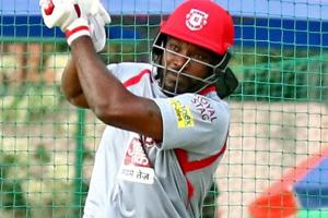 Kings XI Punjab player Chris Gayle during the practice session.