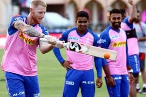 Rajasthan Royals player Ben Stroke during the practice session.