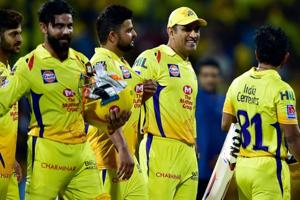 Chennai Super Kings Skipper MS Dhoni along with teammates.
