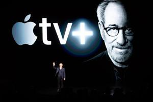 Director Steven Spielberg speaks during an event launching Apple tv+ at Apple headquarters on March 25, 2019, in Cupertino, California.