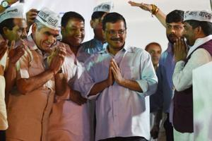 Delhi Chief Minister Arvind Kejriwal and other AAP leaders during an election rally, at East Delhi, on Monday, March 25, 2019.