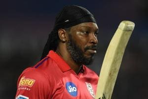 Kings XI Punjab Chris Gayle walks back to the pavilion after a brilliant innings against Rajasthan Royals.