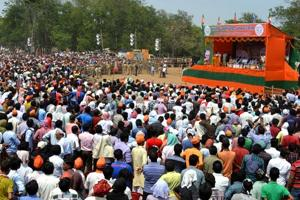 People at Prime Minister Narendra Modi's election rally ahead of the 2014 Lok Sabha polls in Dhanbad.