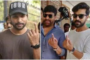 Telugu stars Chiranjeevi, Ram Charan, Jr NTR, Allu Arjun cast their vote- See pics