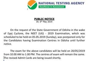 NEET2019 for Odisha centres to be conducted on May 20, check full details here