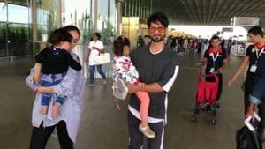Shahid Kapoor, Mira Rajput spotted with kids at Mumbai airport
