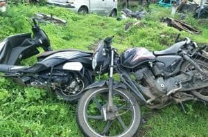 The youths were ridding pillion and triple seat on their two-wheelers, the police said. (In pic) The two-wheelers of the youth in shambles at the spot of the accident.