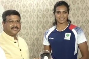 Watch: PV Sindhu meets Union Minister Dharmendra Pradhan after historic...